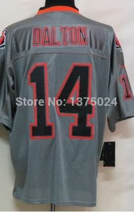 Wholesale 2014 New #14 Andy Dalton Men's Lights Out Gray Elite Embroidery logos American football jerseys Cheap Sale(China (Mainland))