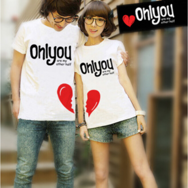 Free Shipping Lovers Clothes Men Women Fashion Couple T Shirt only you Heart Shape Cartoon Casual Novelty Clothes For Lover, 2PC(China (Mainland))
