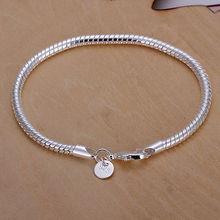 Hot Sale 925 Silver Bracelets 925 Silver Jewelry Fashion 4mm Snake Bracelet Bangel For women men Factory Price LKH159(China (Mainland))