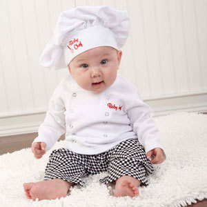2014 cute baby chef suit/3-piece set: chef hat+ white top+ plaid pants/Professional chef design(China (Mainland))