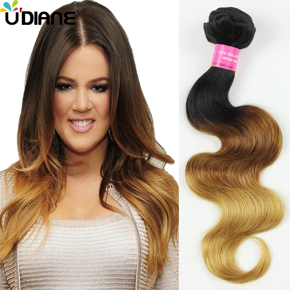 3PCS Ombre Body Wave Human Hair Three Tone Malaysian Ombre Hair Extensions 10-30 3 Tone Ombre Virgin Hair 1B/4/27 Colored 9BC31