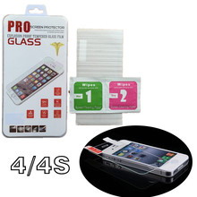 Wholsale 9H 0.26MM 2.5D Tempered glass Screen Protector HD Transparent Film for iPhone 4 4S with retail box package