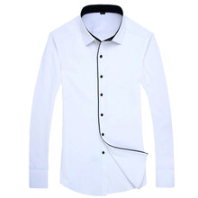 2015 Fashion Patchwork Color Blocking Men Dress Shirts 095 BM Long Sleeve Turn Down Collar  Mens Clothing Camisa Masculina