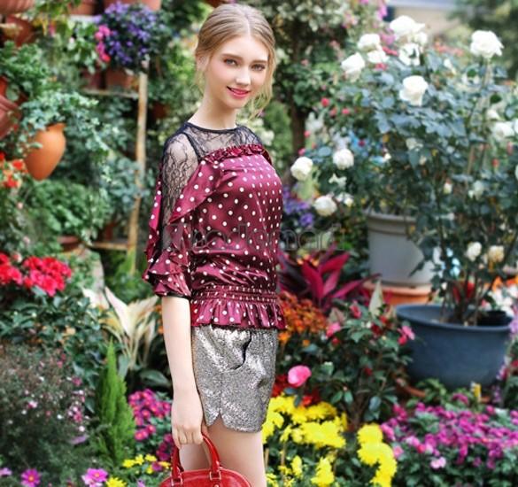 Excellent 2015 Woman satin Clothes Fashion Three Quarter Sleeve Retro Polka Dot Blouse Shirt 56(China (Mainland))