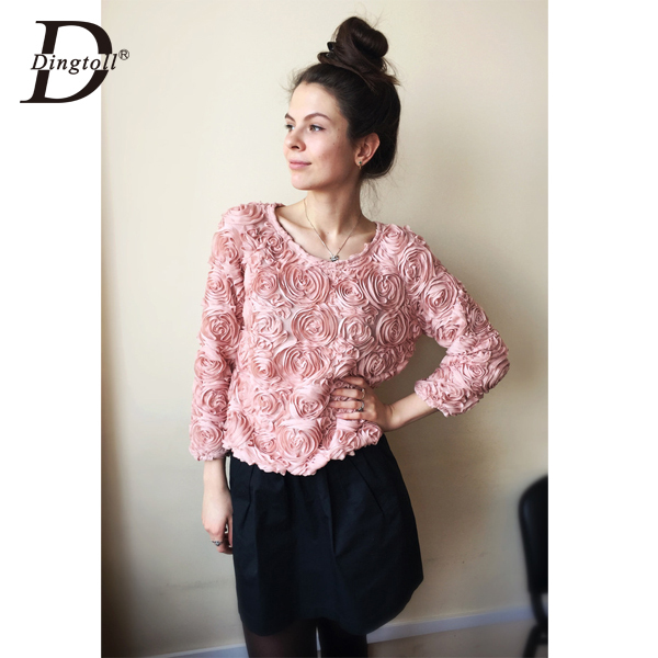 Dingtoll Blusas New Women Fashion 3D Rose Out Chiffon Floral Design Blouse Blusa Feminina Tops(China (Mainland))