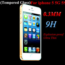 For iphone 5 5G 5S Explosion-proof Ultra-Thin Premium Tempered Glass 9H Screen Protector Cover Guard Film with cleaning tools
