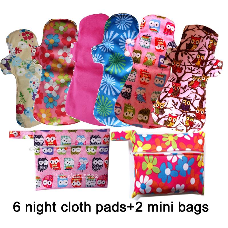 Heavy Flows Overnight Cloth Menstrual Pads Soft Bamboo Maternity Sanitary Pads Reusable Feminine Pads, 6 PCS WITH 2 Mini Bags(China (Mainland))