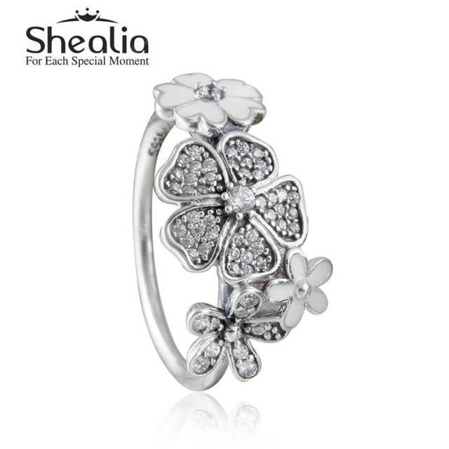 2016 весной новый мерцающий букет кольцо с эмалью твердые 925 серебряный цветок кольца для женщин ювелирных украшений RIP154