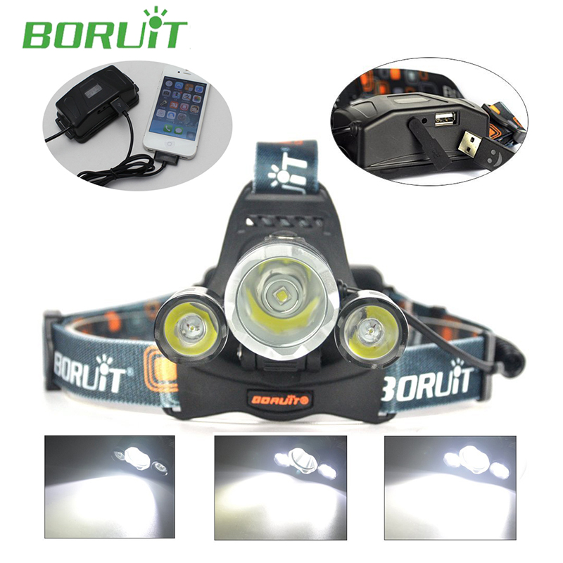 Brand Boruit RJ-5000 Headlamp 6000 Lumens Headlight Cree XM-L T6+2R5 LED Flashlight Head Lamp Linterna Frontal with AC Charger<br><br>Aliexpress