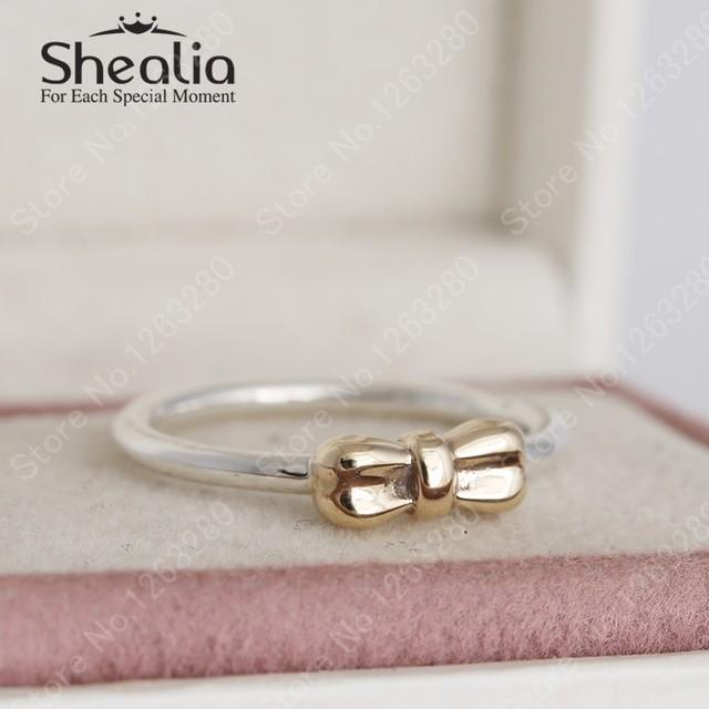 Кольца настоящее 14 К чистого золота с бантом для женщин 2015 зима бантом кольцо европейский серебро 925 изящные украшения рождественский подарок RIP147