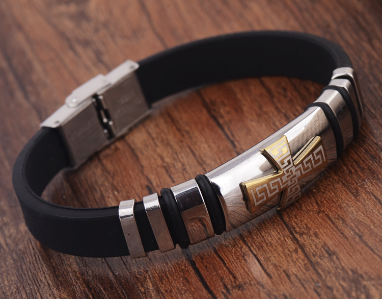 Men And Women Silicone Leather Bracelets Bangles Cross Pattern Energy Wristband Men Jewelry(China (Mainland))