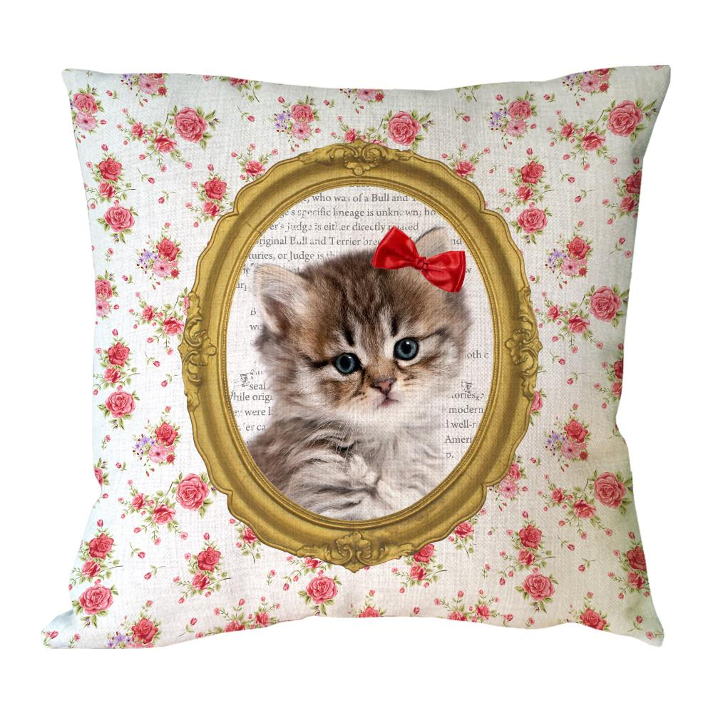 cute cat with flora printed custom flower spotty cushion cover home decorative personalized linen throw pillow