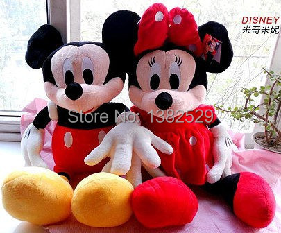50cm Minnie mouse Mickey Mouse plush toys children's birthday present a pair of loves 2pcs/lot(China (Mainland))