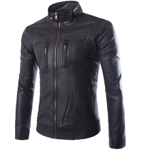 2016 Spring fashion men's casual leather jacket collar, good quality men's brand leather jacket, leather men big yards,M-3XL 4XL(China (Mainland))