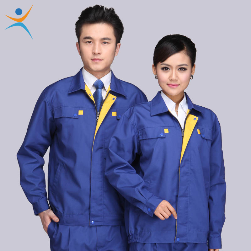 Unisex Working Uniforms Zip Up Long-Sleeve Canvas Tops and Pants Workwear Men and Women Factory Suits Clothes Sets(China (Mainland))