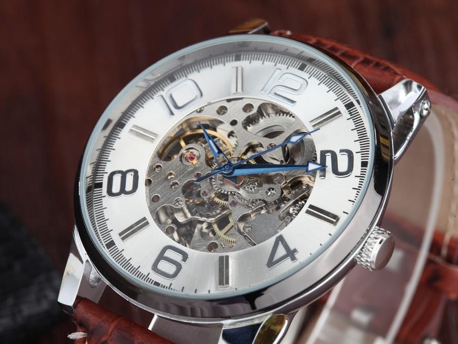 GOER марка Скелет человека автоматические часы Мужчины наручные часы Кожа механическая водонепроницаемый Световой цифровой движения