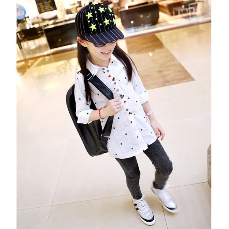 Spring and summer children shirts clothing cotton girls shirts print design clothes