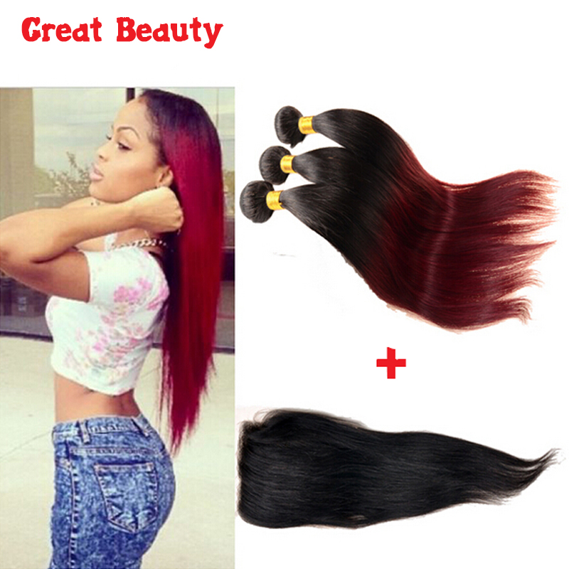 cheap ombre human hair malaysian virgin hair with closure hot beauty straight hair ombre 1b 99j burgundy weave hair with closure<br><br>Aliexpress
