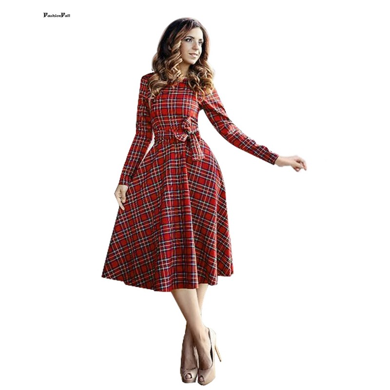 Robe Vintage Red Plaid Dress Women Fit And Flare Design Slim A-Line Big Swing Skater Dress Plus Size Office Dress With Sashes 15(China (Mainland))