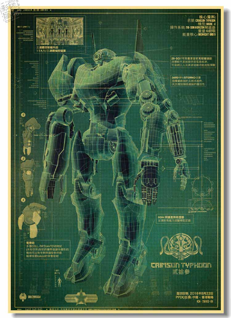 Pacific Rim Transformers movie poster retro decorative painting bedrooms mech blueprints Photo Wall Videos(China (Mainland))