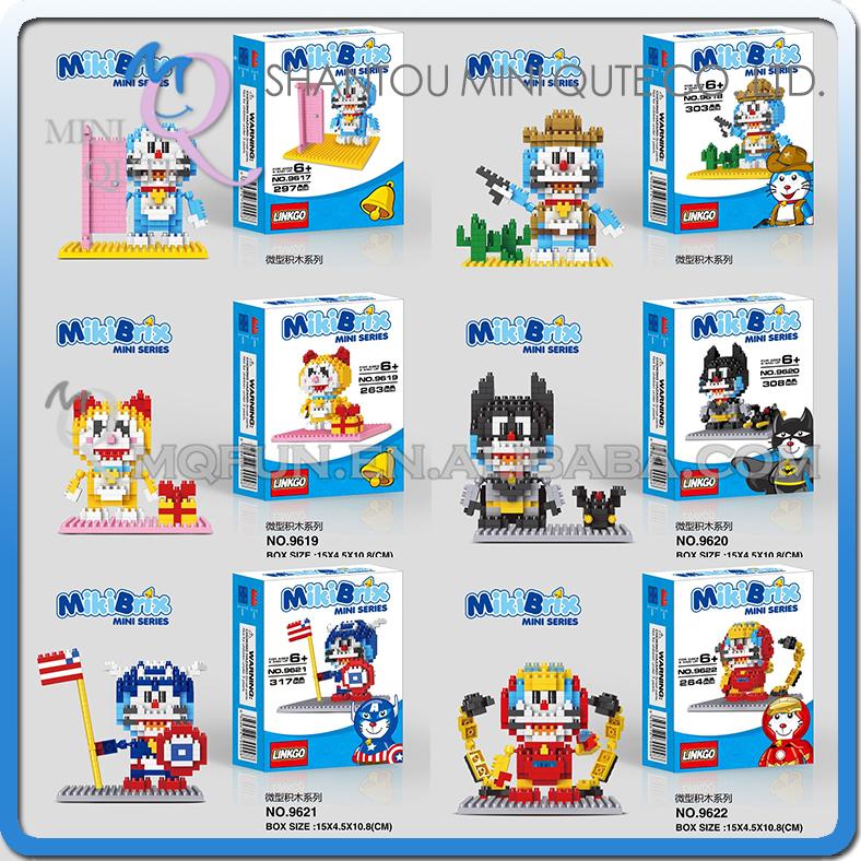1 piece Mini Qute LINKGO 6 styles Anime Doraemon super hero robot cartoon diamond block plastic building block educational toy<br><br>Aliexpress