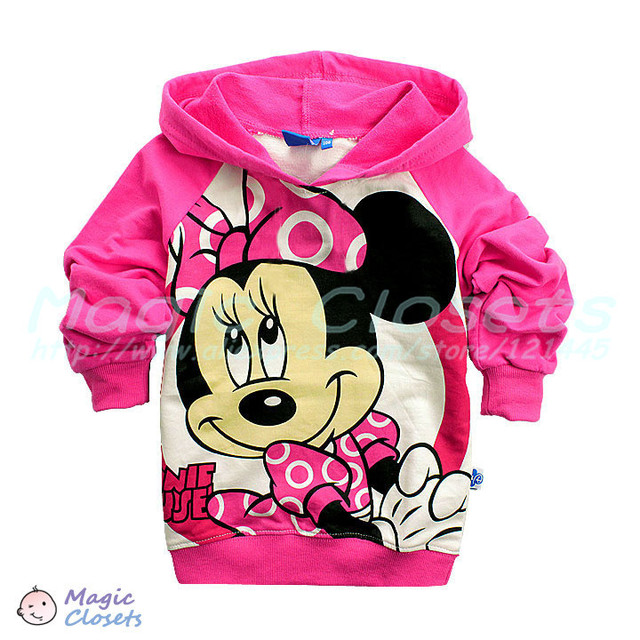 Free shipping,6pcs/lot,2color,New Pink Minnie mouse children sweater,boy girl  top shirts Hooded Sweater hoodie,in stock,HOT