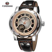 Forsining hombres reloj automático Vogue analógico esqueleto lujo piedras marca reloj del cuero genuino de Color negro FSG8091M3
