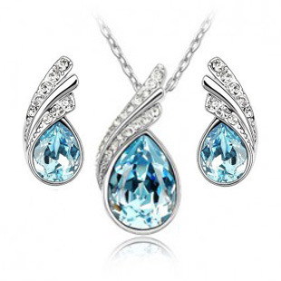 Fashion 18K Austrian Bridal Accessories wings of the angel Crystal Jewelry Sets Necklace/Earrings(China (Mainland))