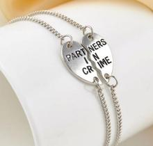 """Vintage Silvers Partners in Crime"""" Best Friends BFF Chain Charms Bracelet Bangle For Women  DIY Gifts Accessories 5set P521(China (Mainland))"""