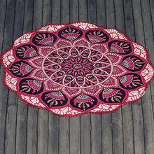 Indian Ombre Mandala Round Tassel Tapestry Beach Throw Blanket Yoga Mat 72 - KebiHome Garden store