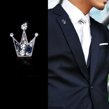 Men's brooch pin small tiara crown Crystal corsage pin jewelry wholesale
