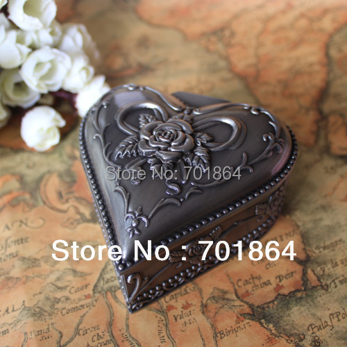 Free Shipping Pewter Material Flower Carved Heart Box Fashion Metal Jewelry Case Vintage Trinket Gift(China (Mainland))