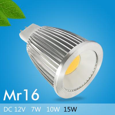 MR16 12V 7W 10W 15W COB LED Spotlight of High Power Energy Saving Cree Chip Warm Cool White Aluminum LED Bulb Light for Kitchen(China (Mainland))