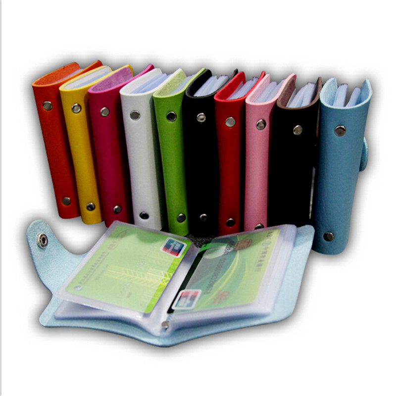 8*15cm pu cover Credit Bank ID Case Busines 24 slotsCard Bag Anti-Magnetic Packs Card holder Large Capacity leather Card Sets(China (Mainland))