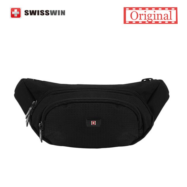 Swisswin поясную сумку работающие талии пакет для мужчин и женщин черный открытый ...