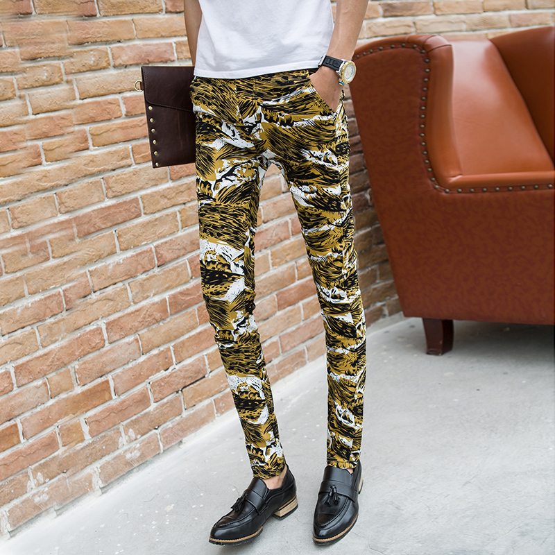 2015 Men's straight fit Pants Men's summer fashion Slim casual Skinny pants feet yellow camouflage cargo pants(China (Mainland))