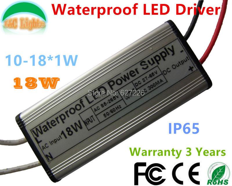 Freeshipping 18W IP65 Waterproof LED Power Supply 300MA 27V - 65V LED Driver Adapter Flood Lights 10W 11W 12W 15W 110V 220V CE<br><br>Aliexpress