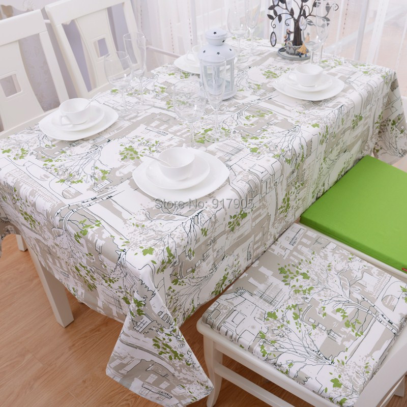 2014 new european country style green trees print tablecloths modern shabby chic dining table. Black Bedroom Furniture Sets. Home Design Ideas