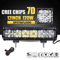 Oslamp 7D 120W 12 LED Work Light Bar CREE Chips Led Bar Offroad Combo Beam Truck