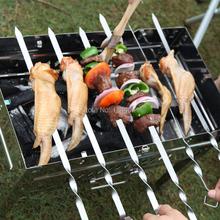 Hot 6 stücke 17,5 ''/45 cm Edelstahl Spieße Flache Fleisch Grillspieße Outdoor BBQ Grill Spieß Braten gabel Lange espeto inox(China (Mainland))
