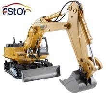 Rc aleación excavadora 2.4 G 11CH Control remoto carro de la ingeniería excavadora modelo de camión excavadora electrónica maquinaria pesada juguete(China (Mainland))