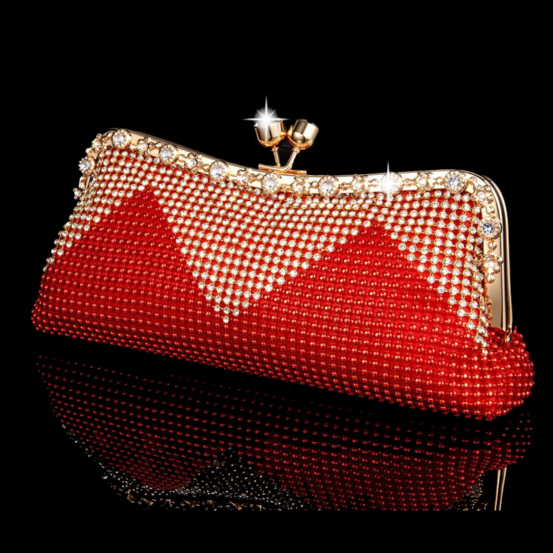 NEW Women Clutch Bags Beaded Evening Bags Pearl Diamonds Handbags Wedding Bridesmaids Bridal Party Feast Bag With Chains(China (Mainland))