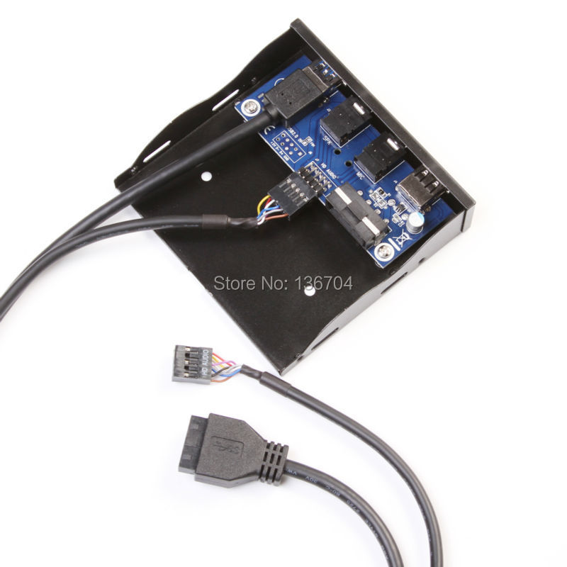 """3.5"""" USB 3.0 Hub +2.4A Power Charging +HD Audio Mic Connector Floppy Front Panel Bracket(China (Mainland))"""