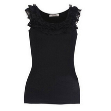 New Trendy Casual Women Tanks/Solid Three-Layers Lace Neck Tanks Tops Women/Brand Summer Women Clothing(China (Mainland))
