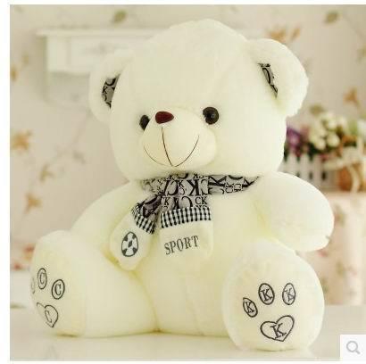 New arrival Super cute 25cm.40cm. 50cm cartoon scarf teddy bear plush doll home decoration stuffed toy children baby girl gift(China (Mainland))
