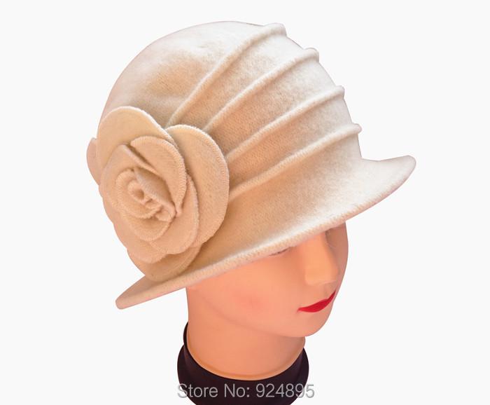 Free shipping 2014 Winter warm women 100% wool knitting Skullies & Beanies hat with flower lady's beret cap(China (Mainland))