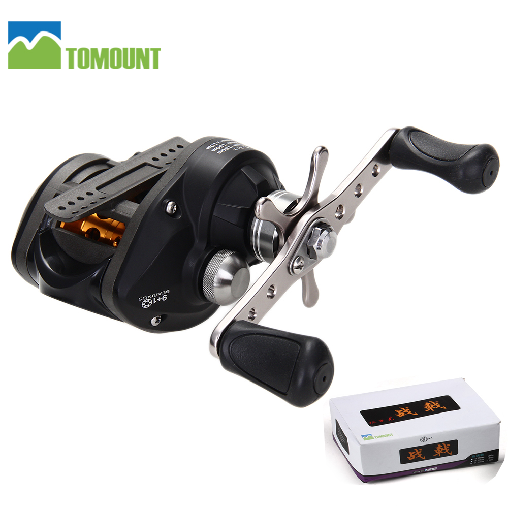 TOMOUNT Demick Left Handed Low Profile 9+1BB Baitcasting Fishing Reel Baitcaster Black Lure Reel Metal 6.3:1 Outdoor Supply NEW(China (Mainland))
