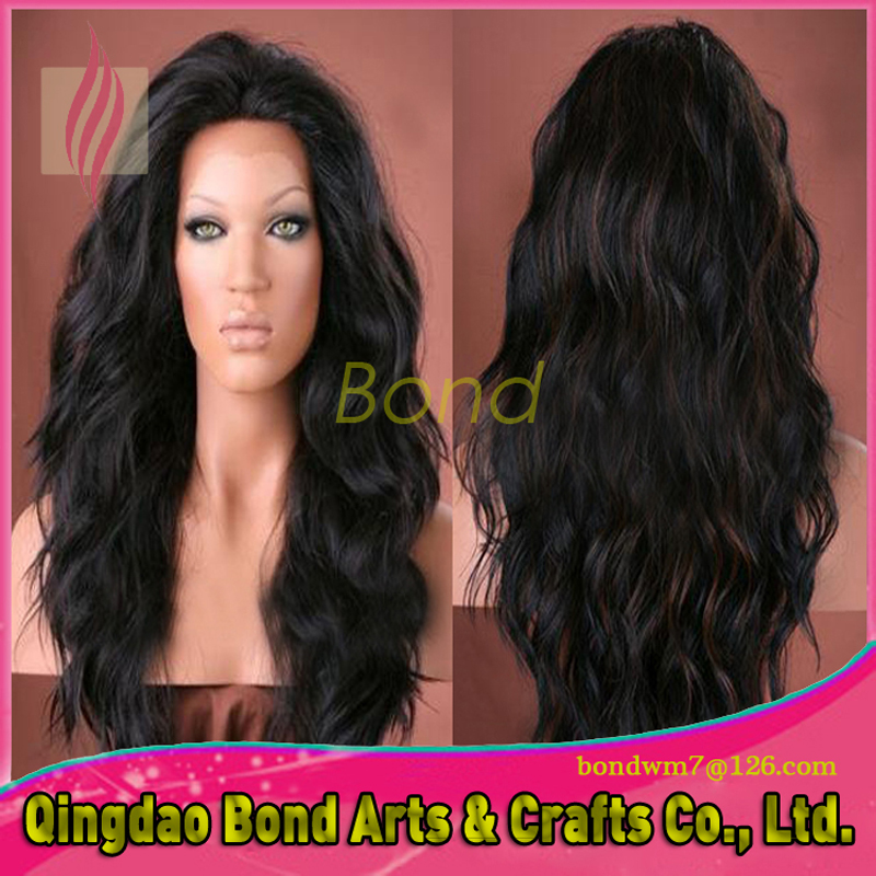 Фотография 8A grade unprocessed lace front wig glueless wavy hair lace wig for black women Brazilian hair wig