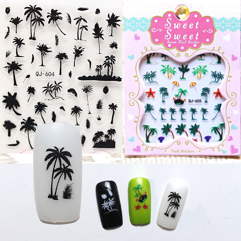 2016 New Creative 3D Nail Stickers Palm Trees Island Series Exotic Nail Art Decals DIY Manicure(China (Mainland))