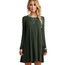 New 2016 Fashion Spring Long Sleeve Women Dress O neck solid A-line Simple Female Casual Dress Plus Size vestidos Army Green